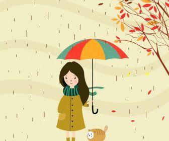 Musim Gugur Latar Belakang Kartun Cara Gadis Kecil Di Bawah Hujan