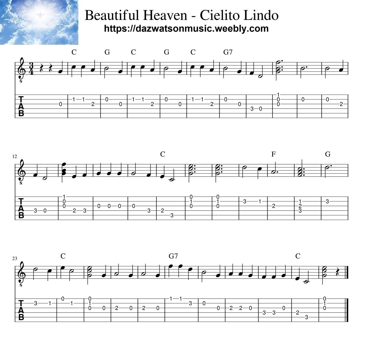 Cielito Lindo Beautiful Heaven Easy Classical Guitar Tab Guitar Tabs Classical Guitar Guitar Tabs Songs