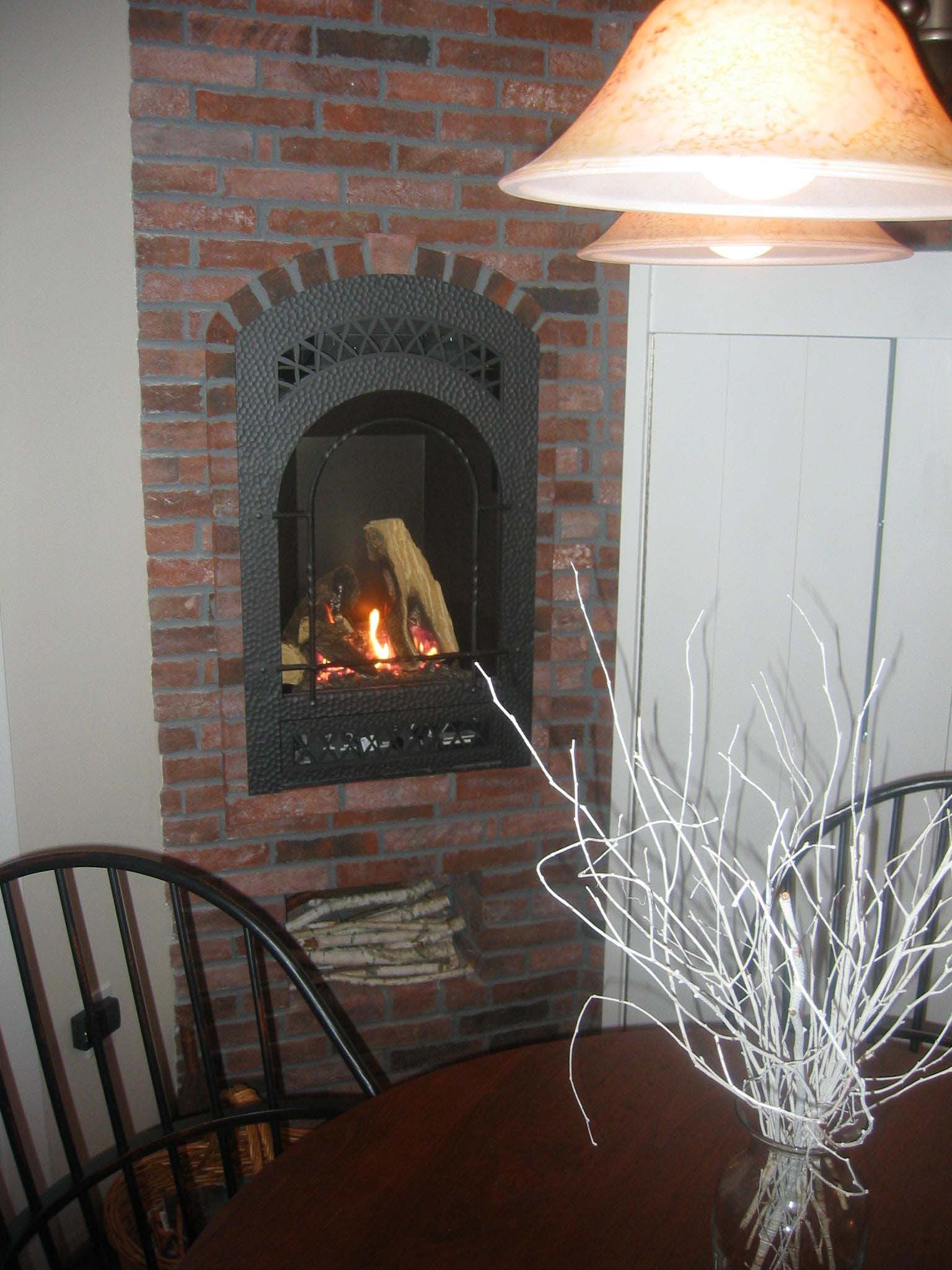 This Gas Kitchen Fireplace Is Surrounded With Our Lancaster Running Bond  Tiles.