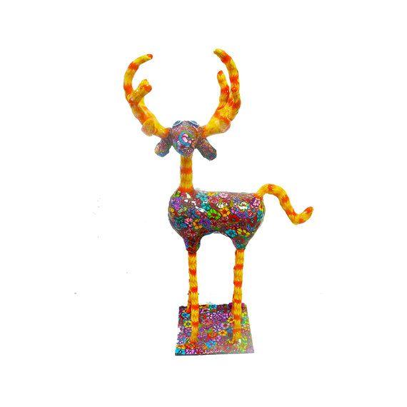 reindeer sculpture Collectibles with  floral patteten  by MIRAKRIS, $150.00