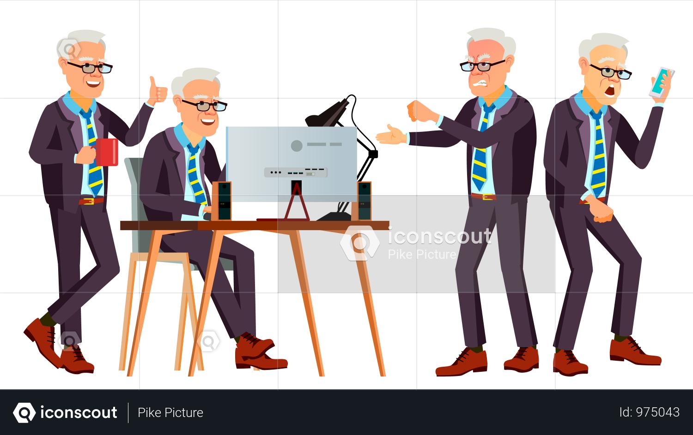 Premium Old Office Worker Vector Face Emotions Various Gestures Business Worker Career Professional Workman Officer Clerk Flat Cartoon Illustration Illu Cartoon Illustration Cartoon Illustration