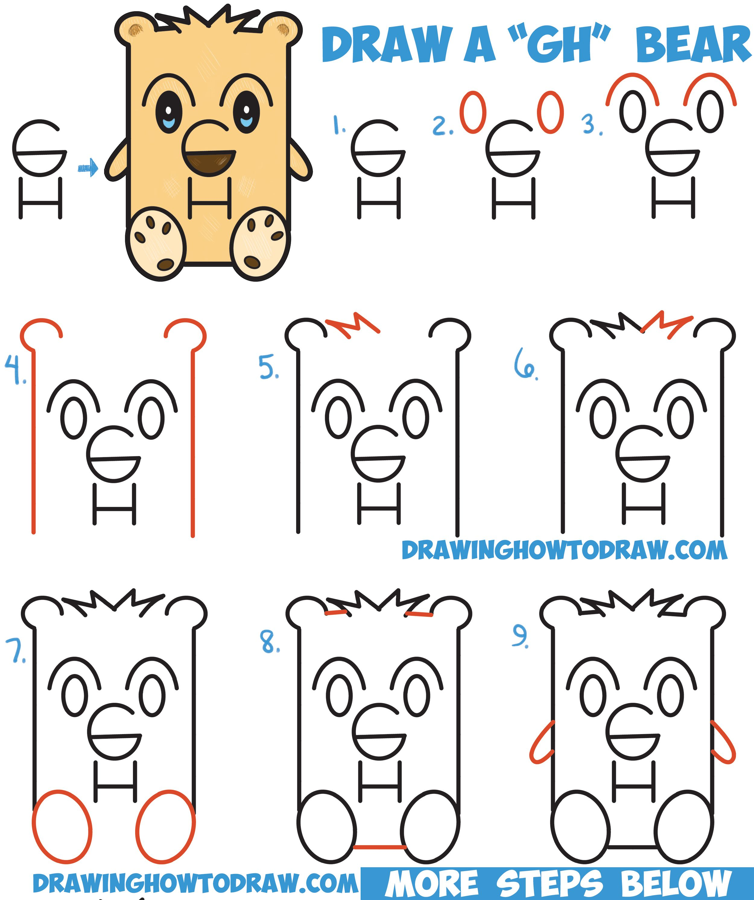 3 Letter Cartoon Characters : How to draw a cartoon bear from letters quot gh easy step by