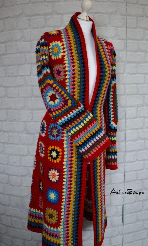 Crochet-Mantel, Jacke, Oma Platz Mantel, weibliche Strickjacke, Schal, handgemac... -