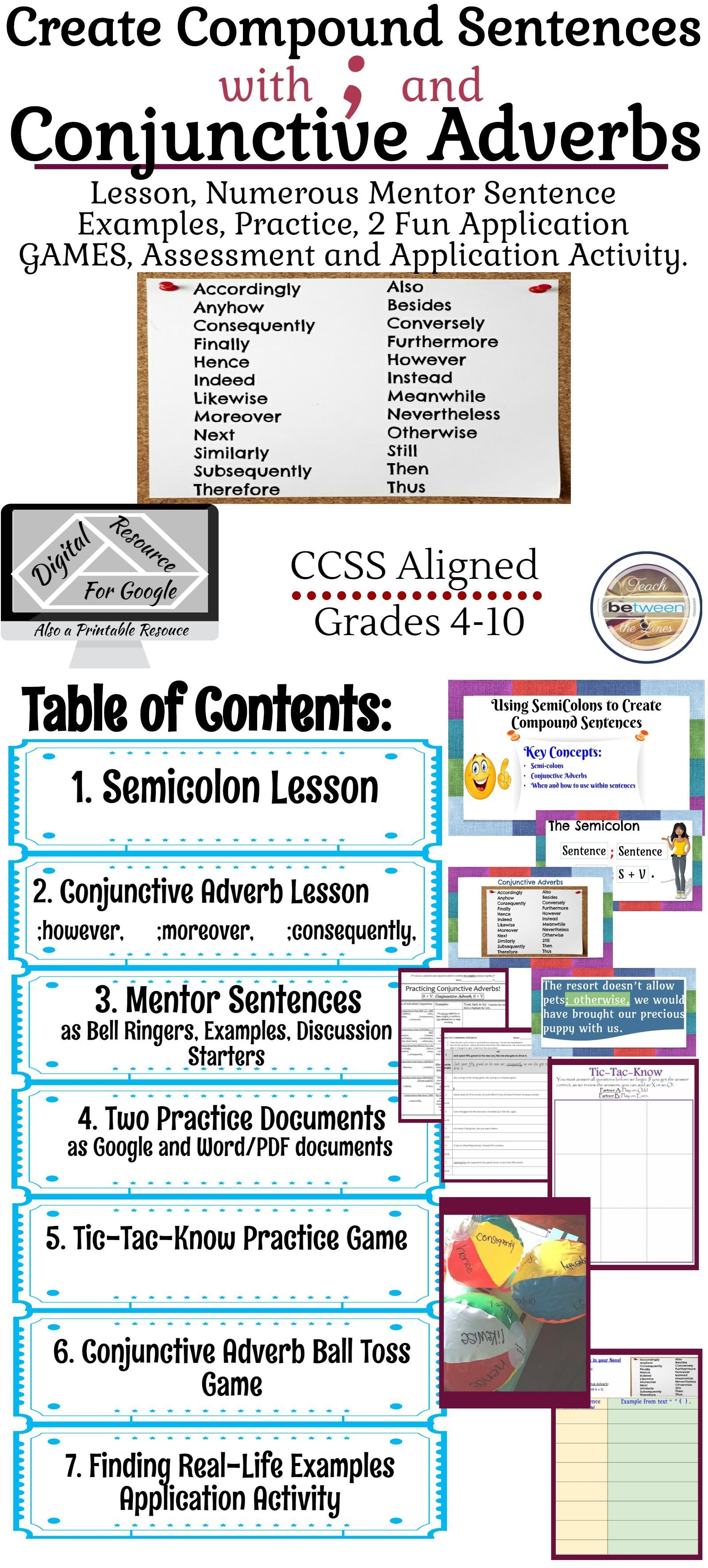 Semicolons And Conjunctive Adverbs Lesson Practice Games