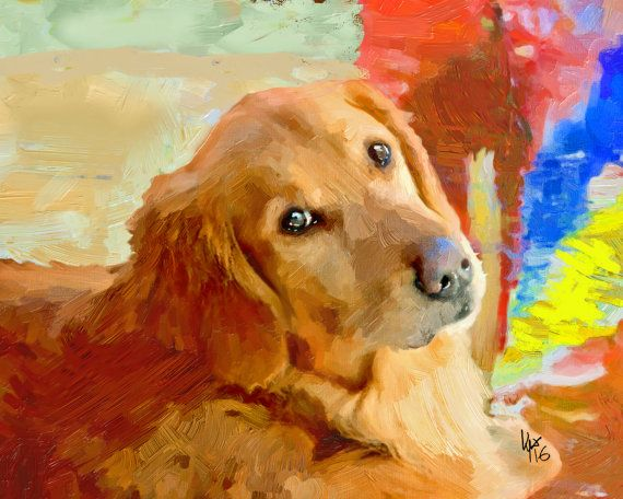 Golden Retriever Art Golden Retriever Dog Art Art By Vyaart