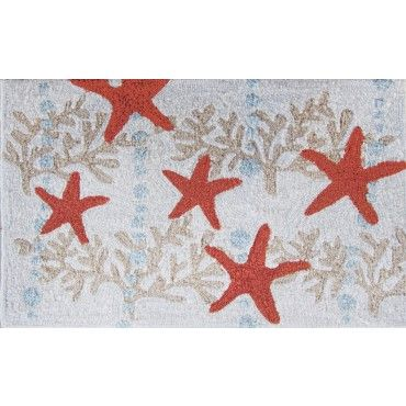 Fun Indoor Outdoor Mat With A Scattered Red Coral Starfish Pattern Coastalrug Coralrug Area Rugs Indoor Rugs Nautical Theme Decor