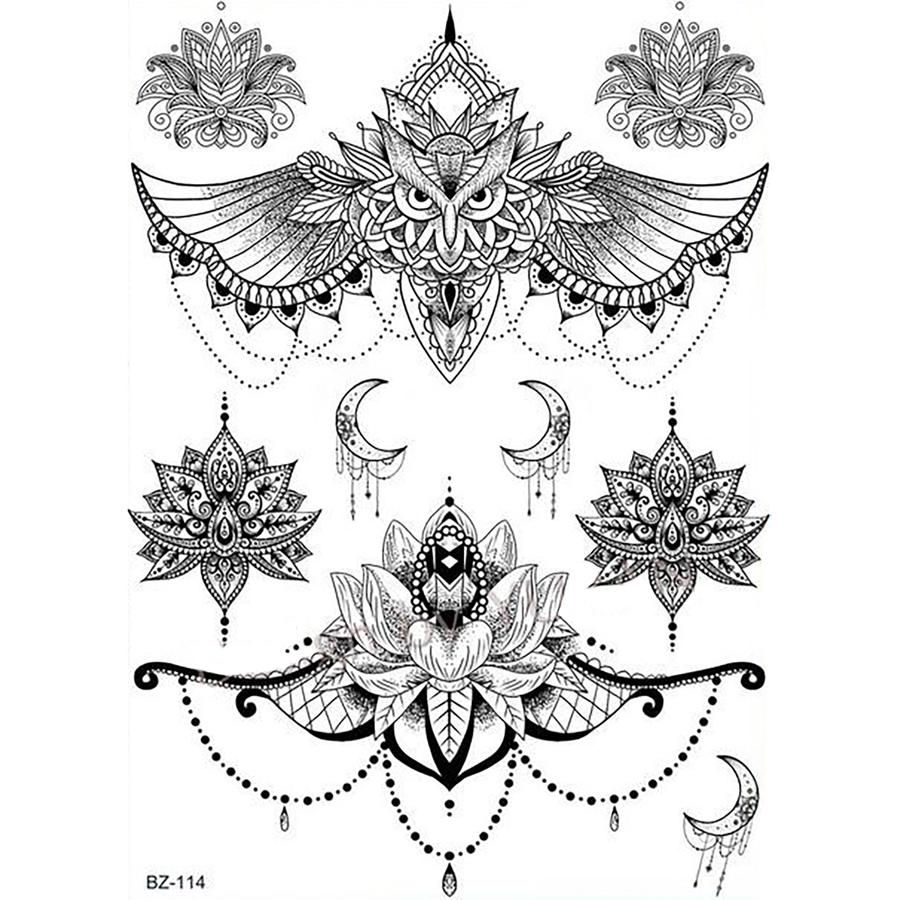Comashe Unique Black And White Mandala Chandelier Lotus Temporary Tattoos Chest Tattoos For Women Pattern Tattoo Chandelier Tattoo