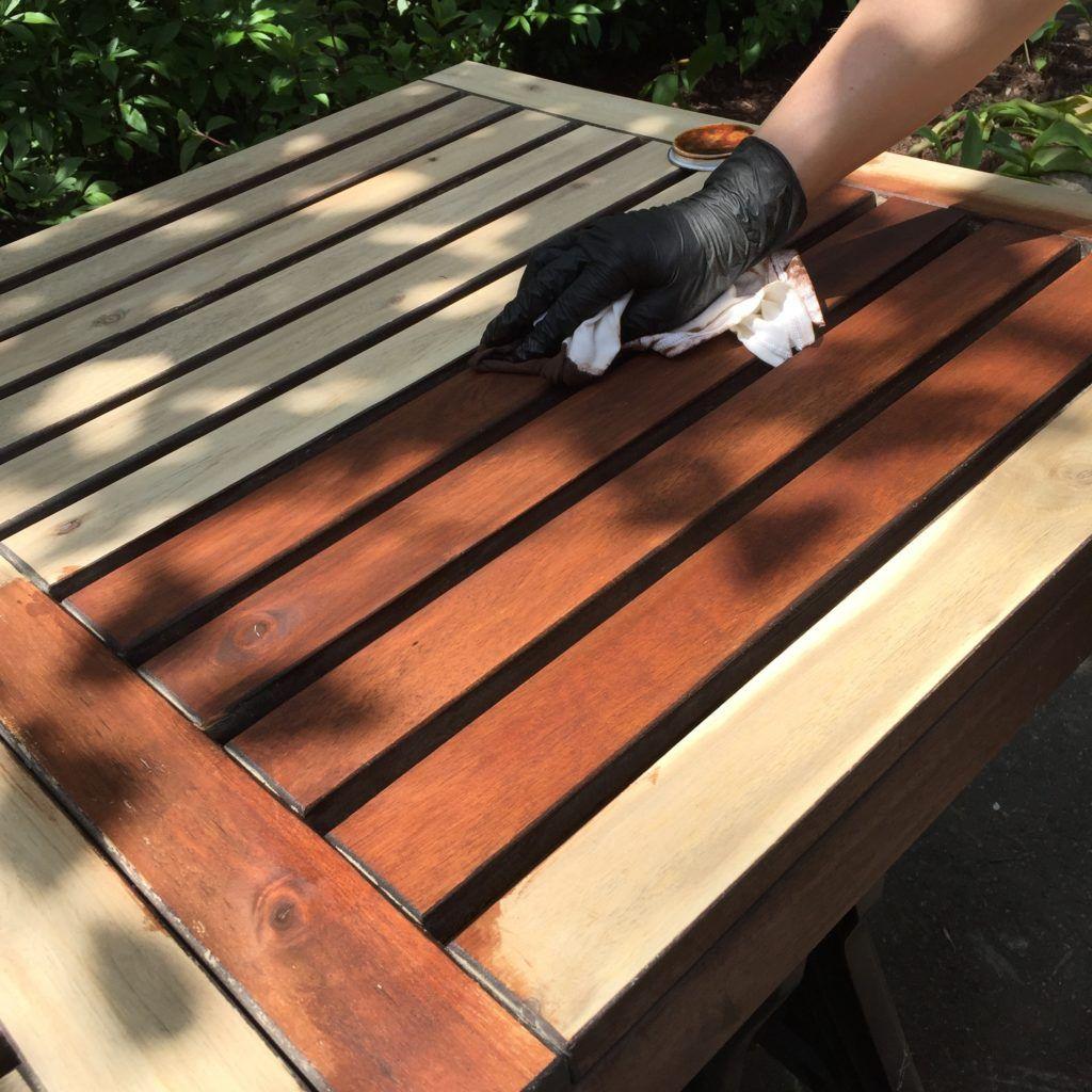 refinishing ikea applaro wooden outdoor patio furniture applying stain