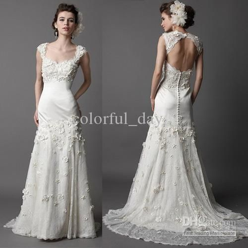 Noble Trumpet Court Open Keyhole Back Floral Off The Shoulder Bridal Gowns Wedding Dresses