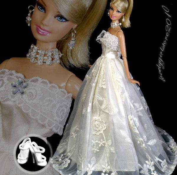 Fashion Dress Clothes Gown + jewelry necklace earrings for Barbie #616