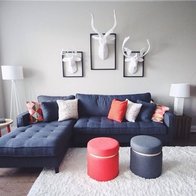 The playful stillwater living room at riverside south! Heads from @westelm , sectional from @structube , lamps and ottomans from @target