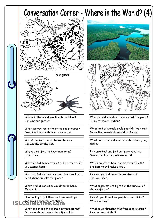 Conversation Corner Where In The World 4 Rainforest Kindergarten Worksheets Worksheets Free Fun Worksheets For Kids [ 1440 x 1018 Pixel ]