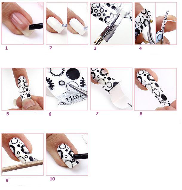 Узоры на ногтях поэтапно