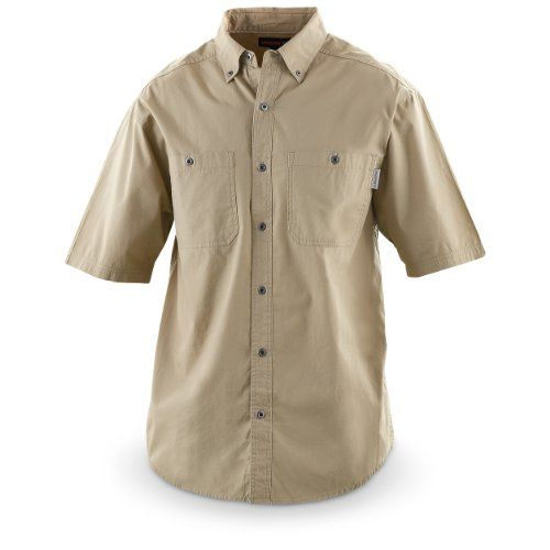 Wolverine Short - sleeved Jackhammer Canvas Shirt, MOSS, M - Short - sleeved Jackhammer Canvas Shirt. Honest, hard - working days, powered by Wolverine. SAVE BIG BUCKS! Pound out a tough day on the job in this Jackhammer Canvas Shirt, made super dura