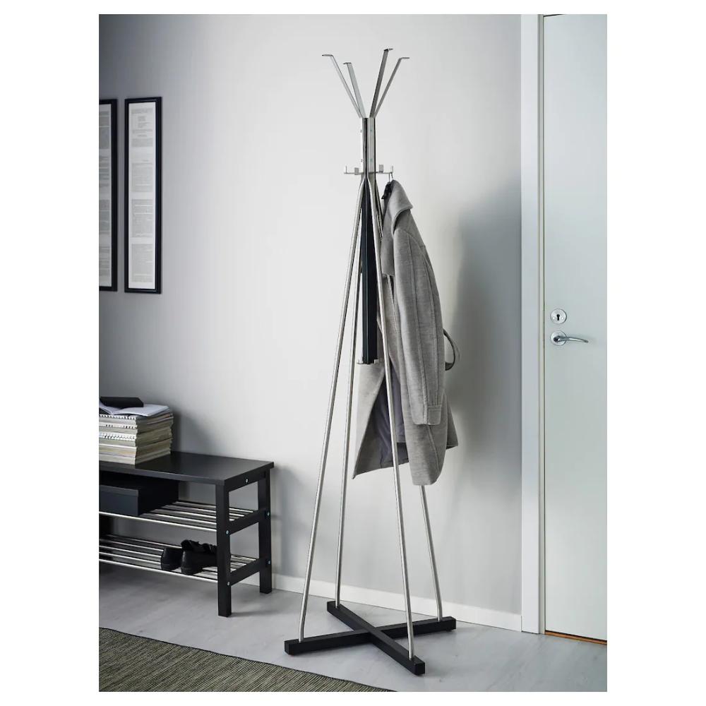 Tjusig Hat And Coat Stand Black Ikea Free Standing Coat Rack Coat Stand Hallway Standing Coat Rack