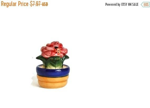 CIJ Sale Salt and Pepper Shakers Flower Pot and Flowers and Lady Bug, Vintage Shakers, Stacking Shakers, Rose Shakers