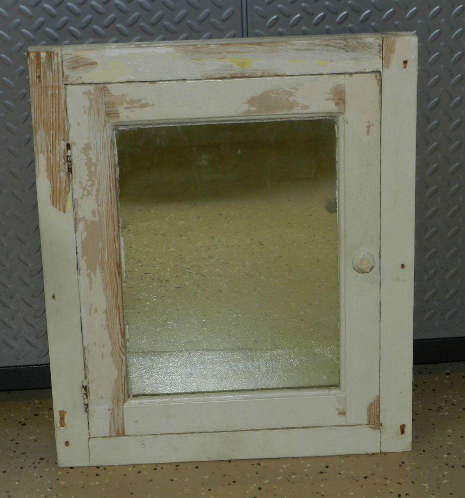 Superbe 5961/ Vintage 1930s Wood BATHROOM Medicine CABINET U0026 Mirror ~ Shabby  Distressed