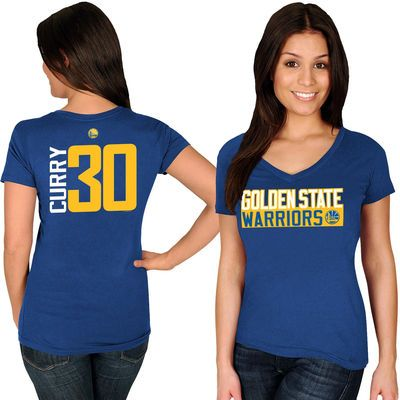 Women s Golden State Warriors Stephen Curry Majestic Royal Name   Number  V-Neck T-Shirt 664e5a38a