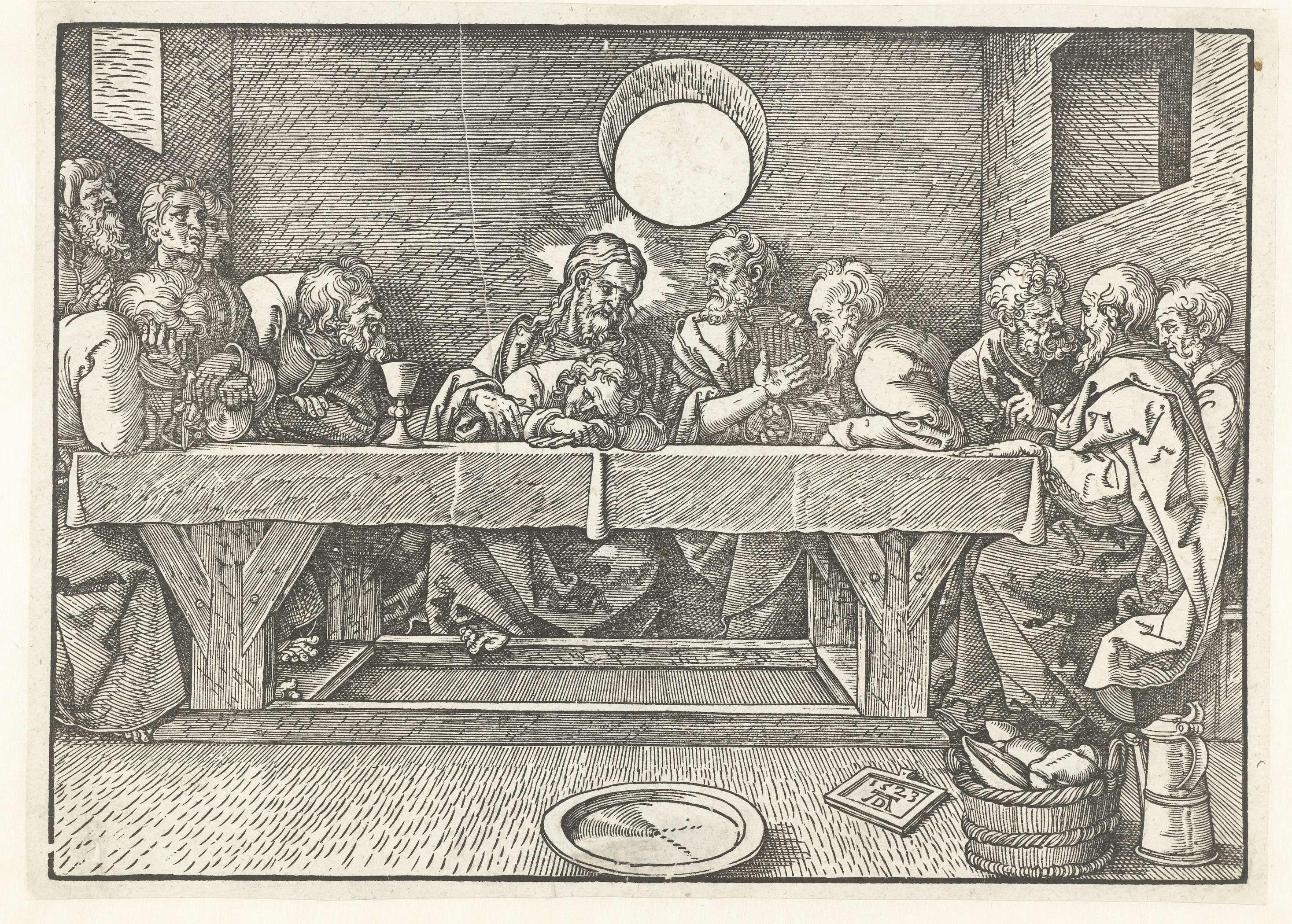 anoniem   Laatste Avondmaal, anoniem, 1523   Christus en zijn discipelen gebruiken een maaltijd aan een robuuste houten tafel. Johannes vleit zich aan de borst van Christus. Op de voorgrond een schaal, een mand met brood en een schenkkan.
