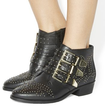Office Lucky Charm Studded Boots Black Leather Gold Hardware Ankle