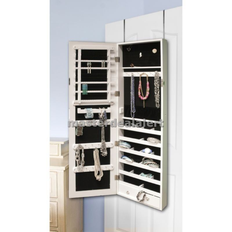 Mirrored Jewelry Armoire Cabinet Organizer Storage Wall Mount Hang Door Case