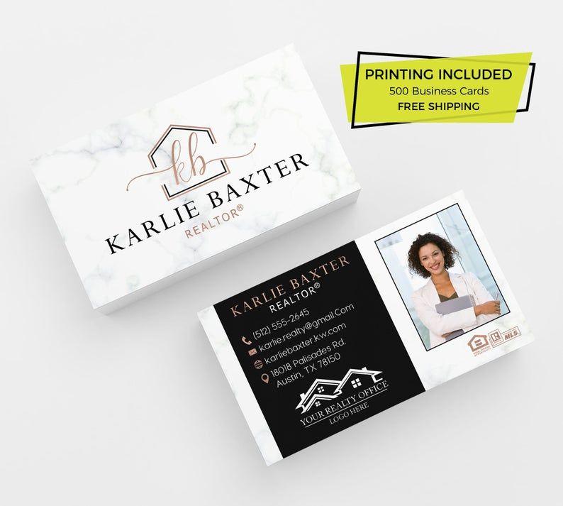 Rose Gold Black Real Estate Business Card 500 Printed Etsy In 2021 Real Estate Business Cards Realtor Business Cards Printing Business Cards