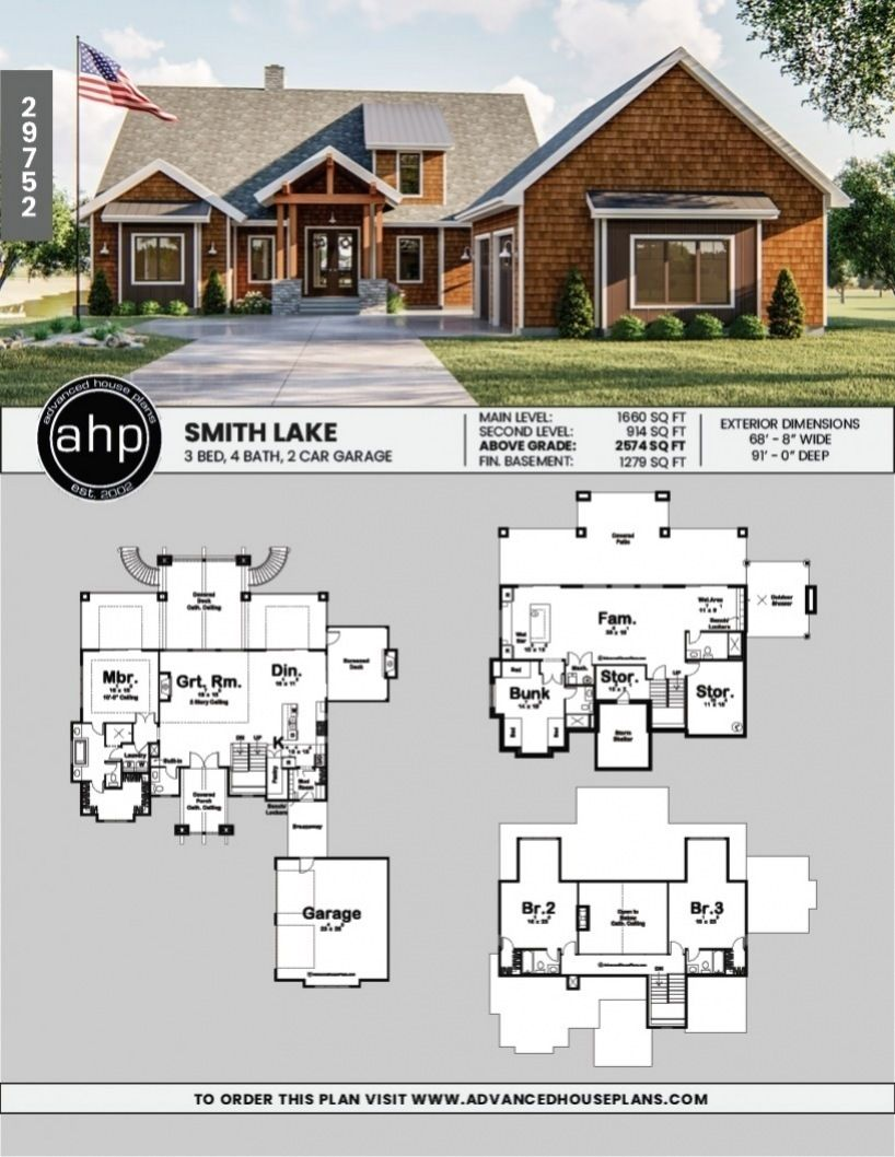 1 5 Story Craftsman Style House Plan Smith Lake In 2020 Lake House Plans Craftsman Style House Plans Craftsman House Plans