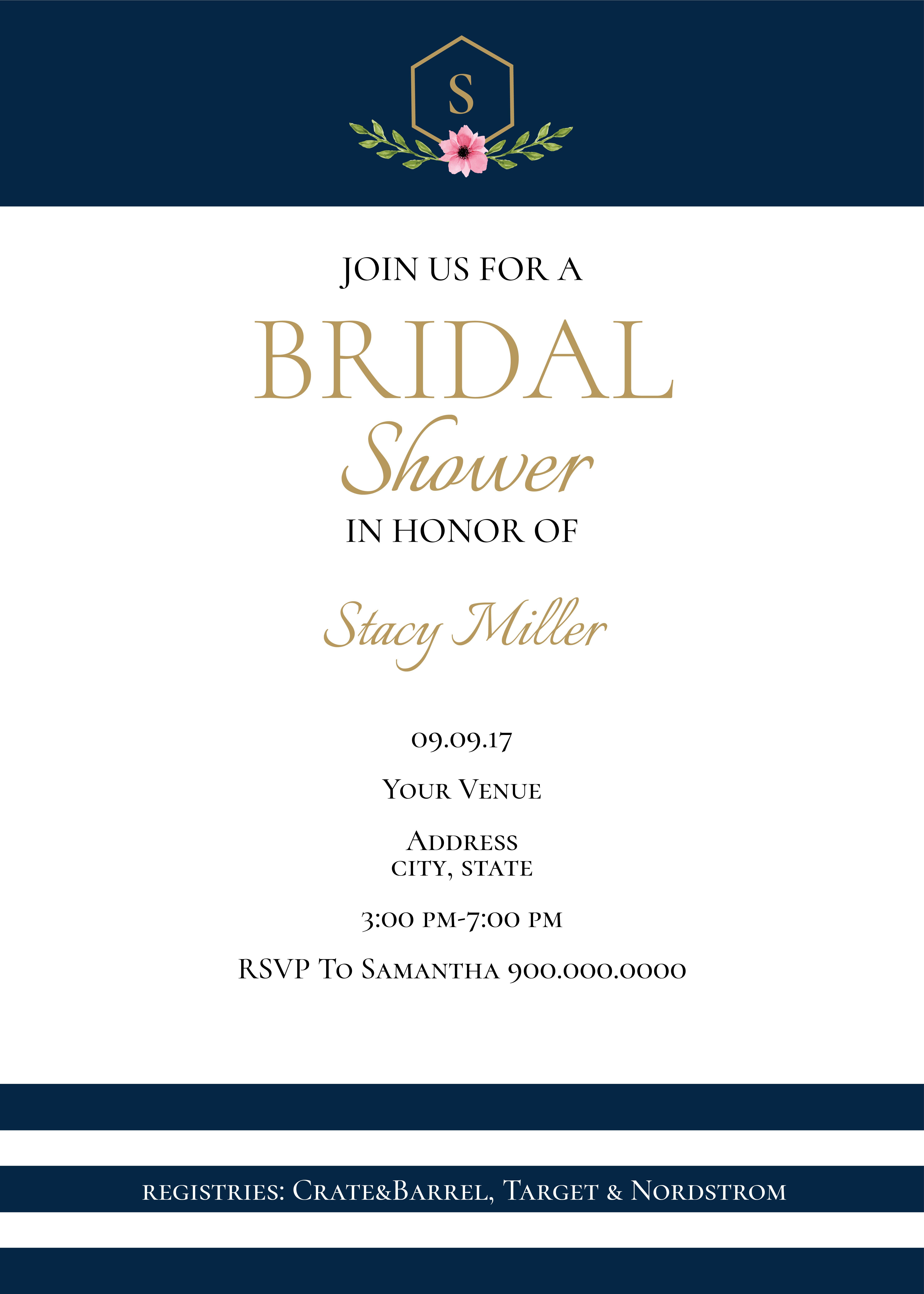 Navy and gold printable digital bridal shower invitation bridal navy and gold printable digital bridal shower invitation filmwisefo
