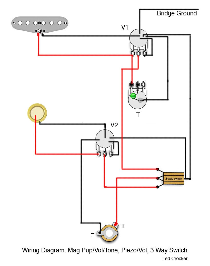 1 Single Coil (with 1 Vol and 1 Tone), 1 Piezo (with 1 Vol), 3 Way switch |  Ted Crocker's Mad Scientist Lab Wiring Diagrams & Schematics - Cigar Box  Nation