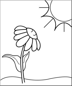 Clip Art Daisy Sunny Day B W Cartoon Flower Spring