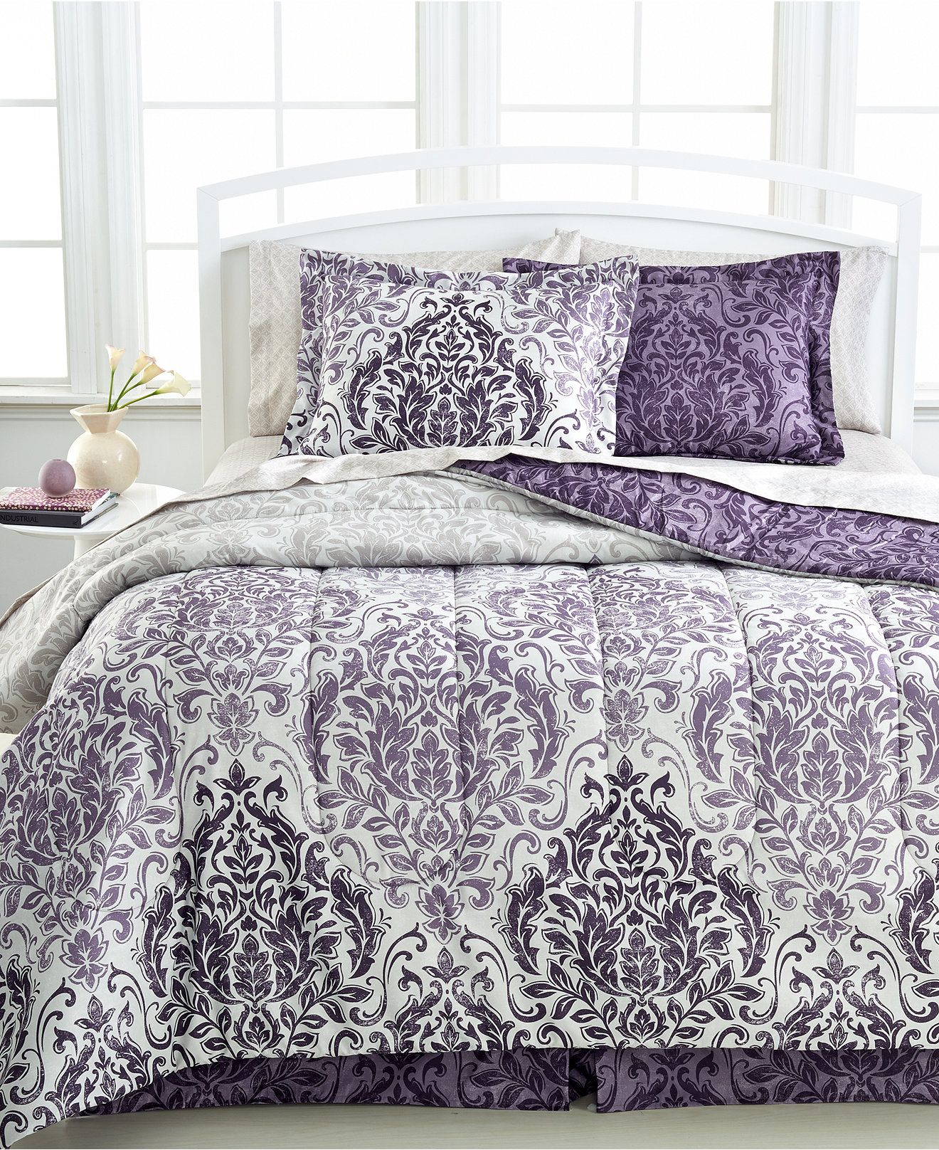 CLOSEOUT Carey 8 Pc Reversible Bedding Ensembles Bed in a Bag