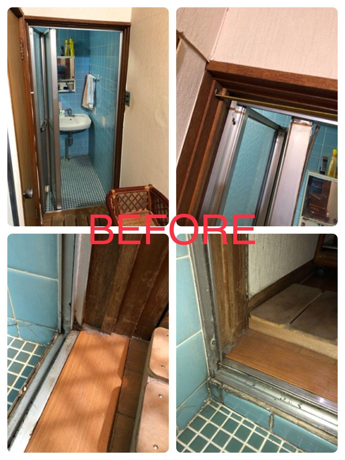 浴室折れ戸の交換 Lixil浴室中折れドアsf型 洗面台やトイレ 給湯器