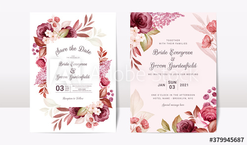 Floral Wedding Invitation Template Set With Elegant Burgundy And Brown Floral Wedding Invitations Wedding Invitation Templates Elegant Wedding Invitation Card