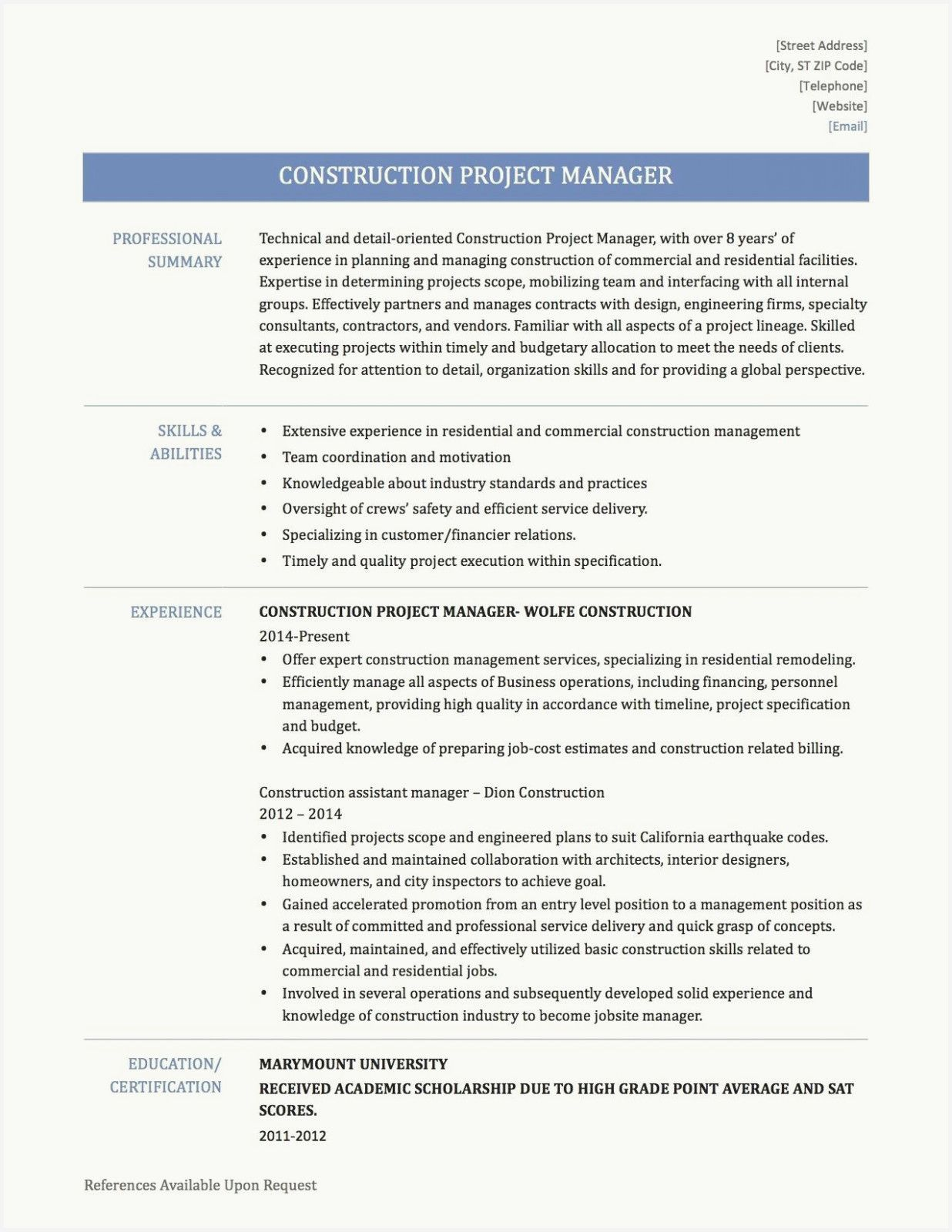 52 best of construction project manager resume examples