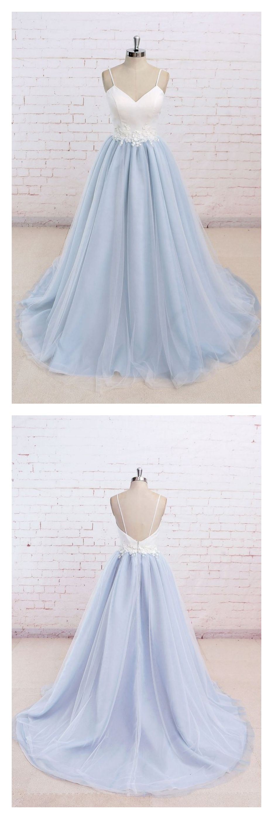 Spaghetti straps white and sky blue long prom dresseshs from