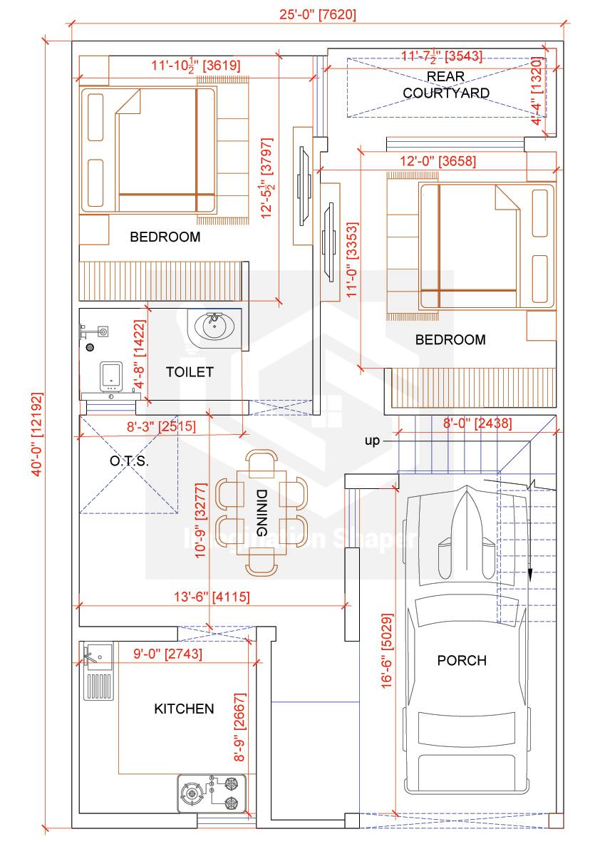 25x40 House Designs Plan 2bhk House Plan House Map 40x60 House Plans