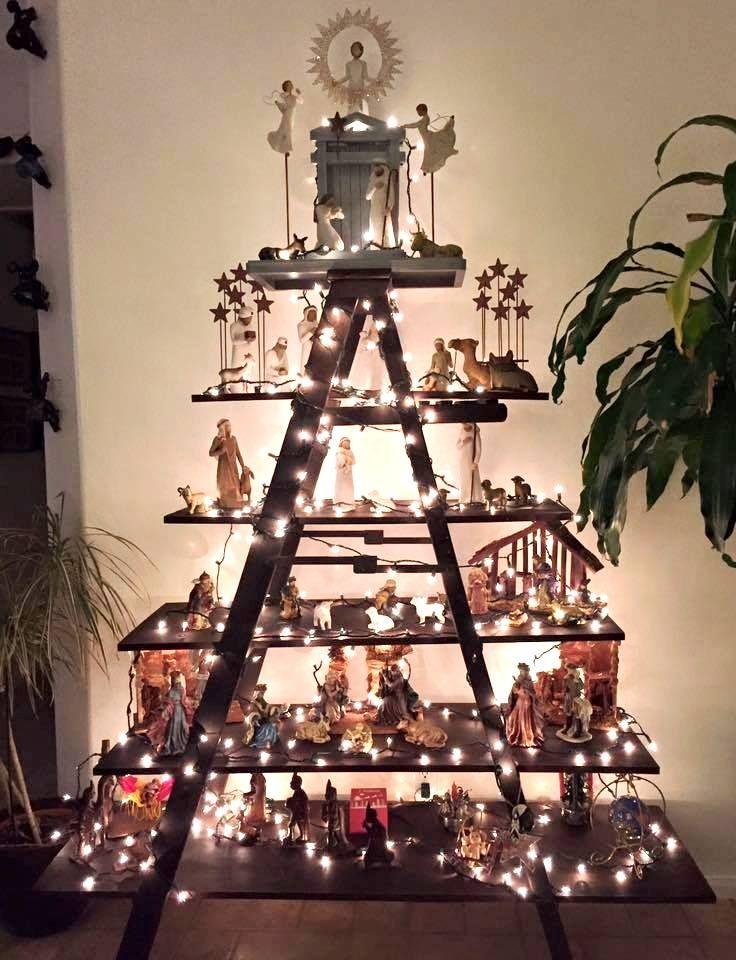 Christmas Display On Ladder Shelving Christmas Display Christmas Village Display Creative Christmas Trees