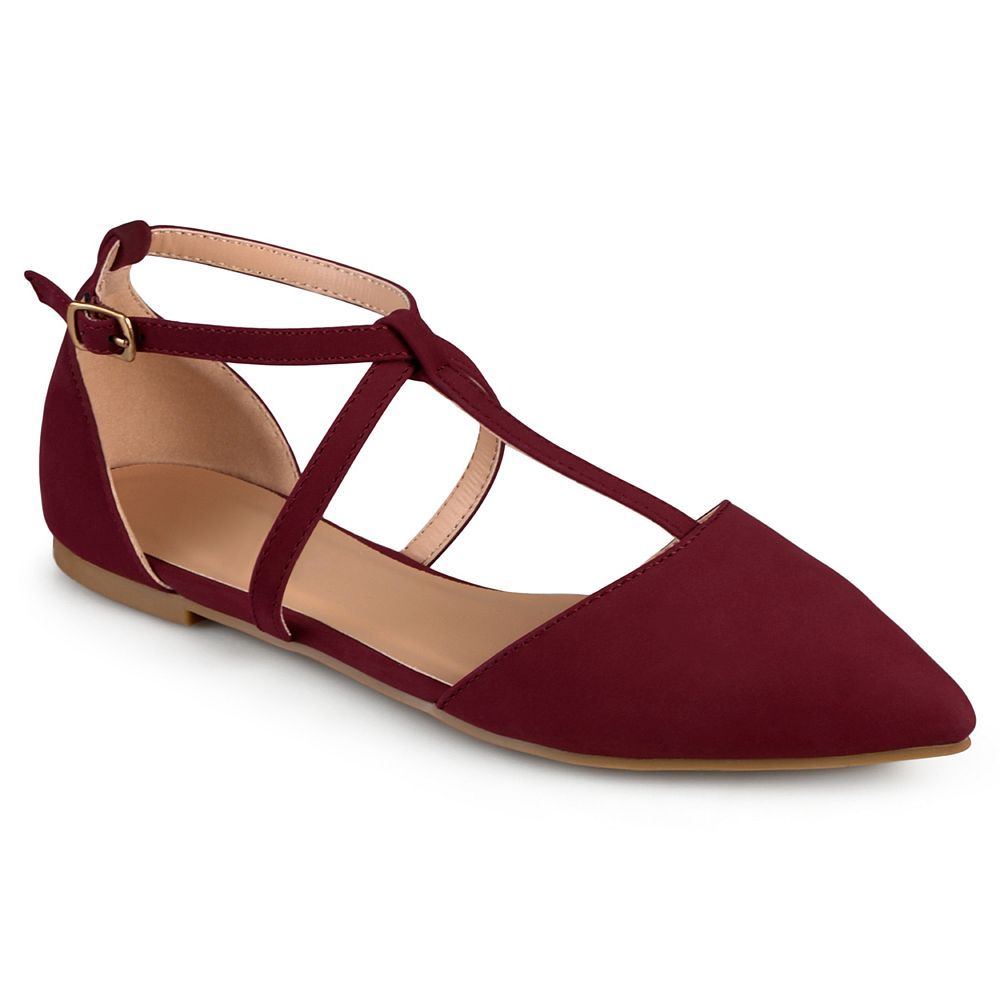 Brinley Co Womens Crossover Pointed Toe Ankle Strap Flats New