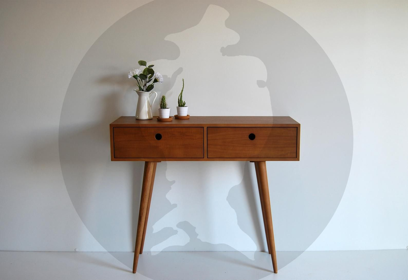 Moderrn Mid Century Dressing Table Console Sideboard With 2 Drawers Retro Scandinavian Design Bedroom Furniture In 2020 Mid Century Dressing Table Scandinavian Design Bedroom Custom Furniture