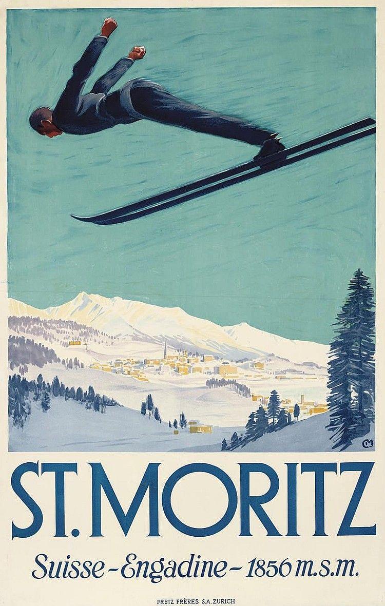 Carl Moos Artwork For Sale At Online Auction Carl Moos Biography Info Vintage Ski Vintage Ski Posters Ski Posters