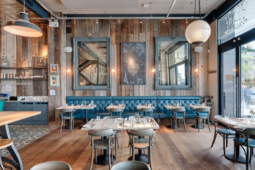 restaurant industrial bar cool bistro bistrot interior decor deco designs devon concept le pierre cafe torquay interiors french awards bbq