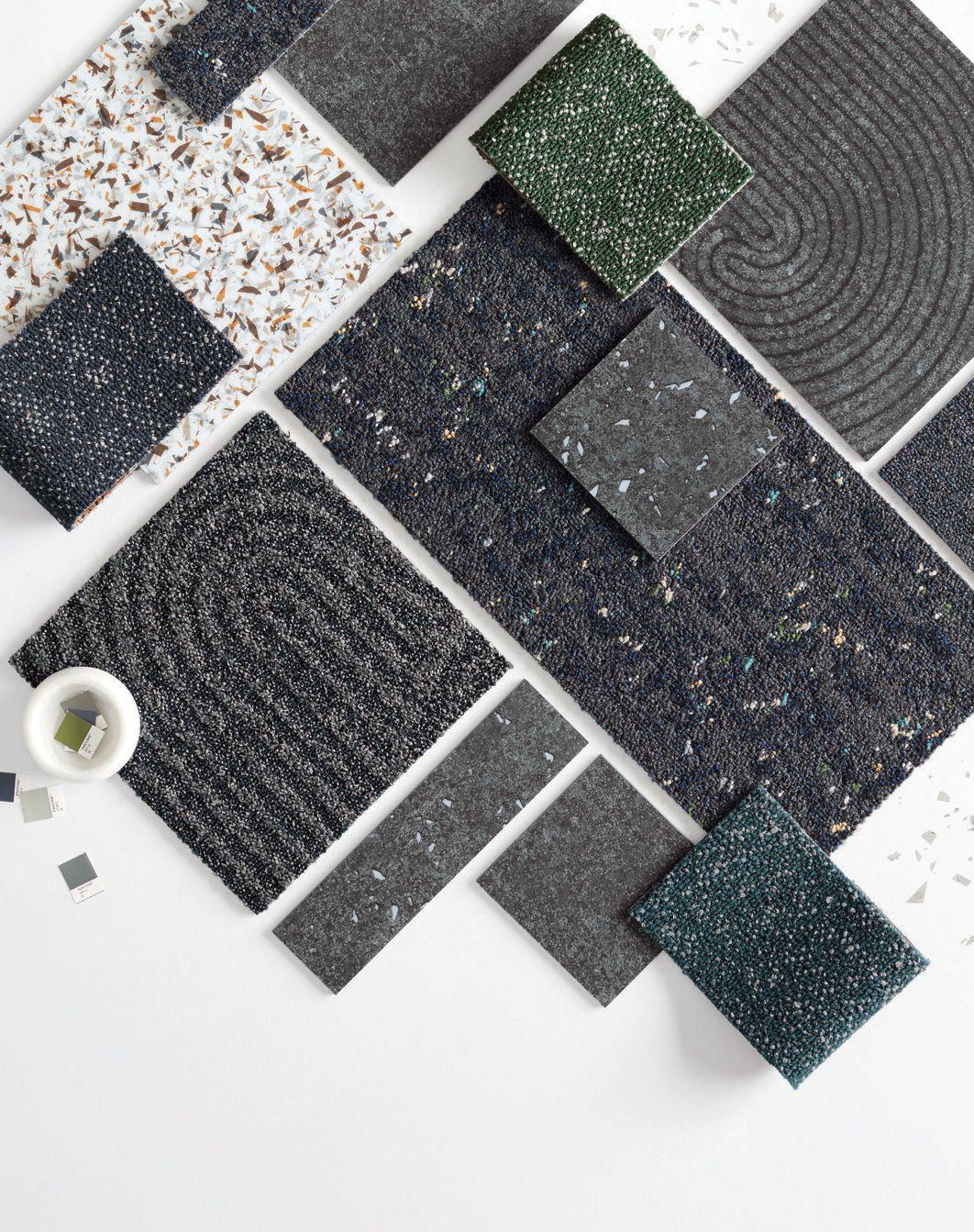 Material Palette Featuring Look Both Ways Carpet Tiles Exterior Tiles Carpet Tiles Design