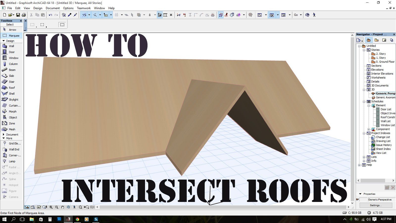 Intersect Roofs in ArchiCAD / Crossgable roof YouTube
