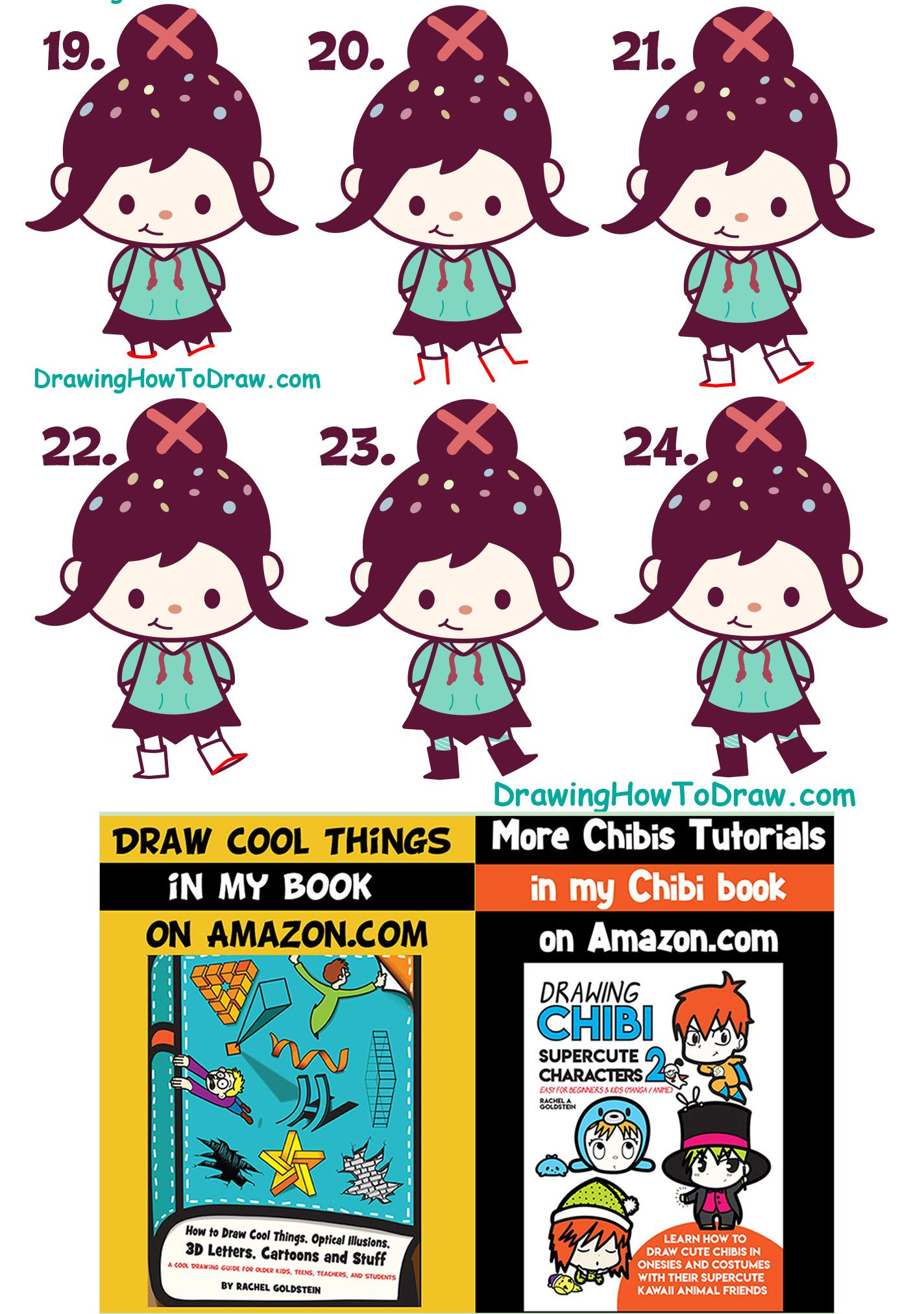 How To Draw Cute Kawaii Chibi Vanellope Glitch From Wreck It Ralph
