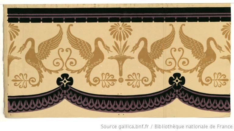 Titre : [Manufacture Jacquemart et Bénard. Bordure. Une bande de frise centrale de cygnes se terminant en volutes alternant avec une fleur stylisée, entre un ruban suspendu à des rosettes et une frise géométrique] : [papier peint]  Auteur : Jacquemart et Bénard (Manufacture)  Éditeur : Jacquemart et Bénard (Paris)  Date d'édition : 1803