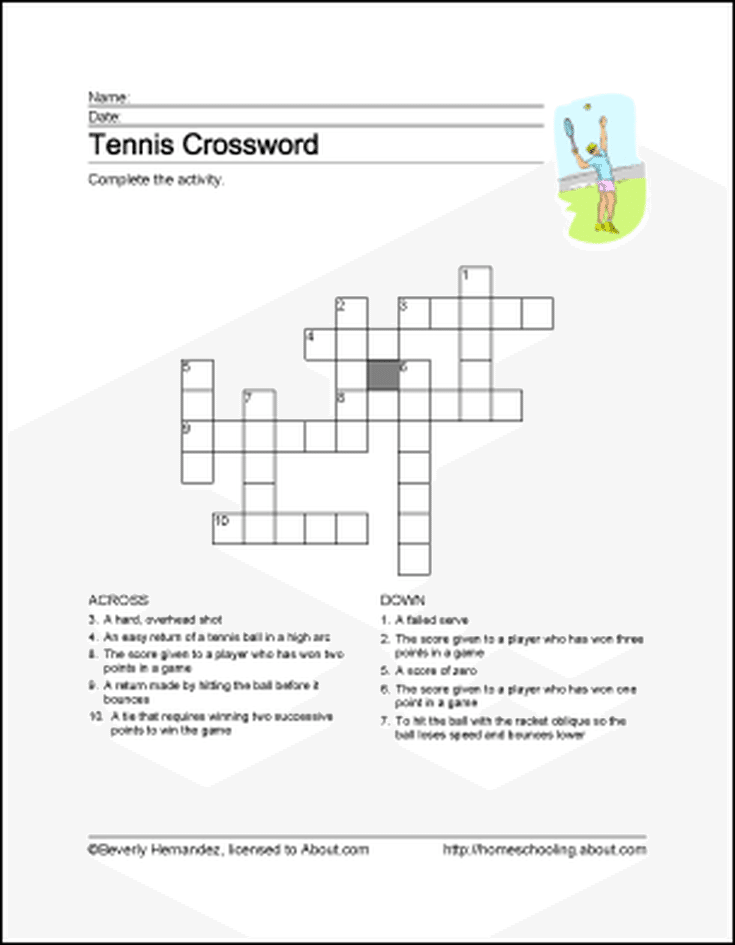 Tennis Wordsearch Crossword Puzzle And More Tennis And Wimbledon