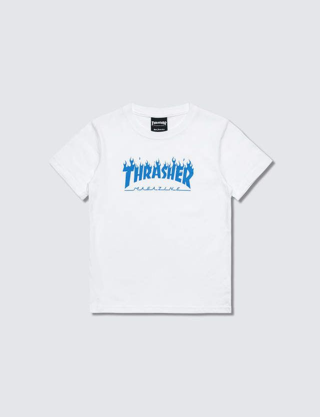 f371d0ab5070 Shop Thrasher Blue Flame Kids T-Shirt (White) for Kids at HBX Now. Free  Shipping available. 30-Day Return Policy. Shop Clothing, Shoes, Bags,  Accessories, ...