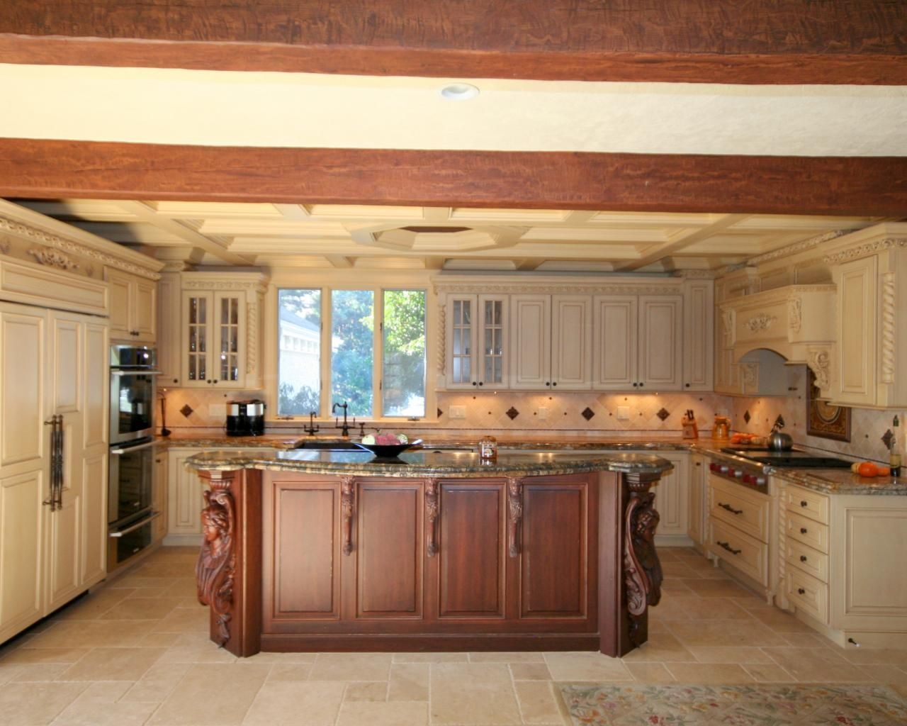Traditional cream kitchen with cherry island | Traditional Kitchens ...