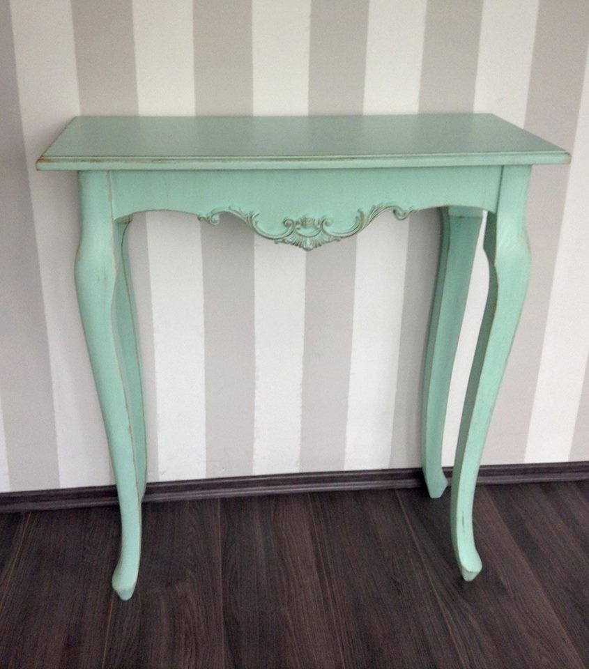 Mesa vintage color menta acabado antiguo shabby chic for Muebles online vintage