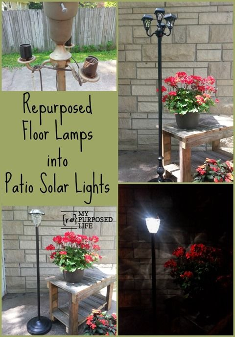 Repurposed Floor Lamps make great patio solar lights | A Patio